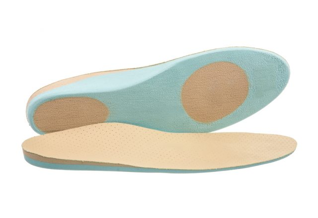 Closeup of a pair of orthopedic shoe insoles
